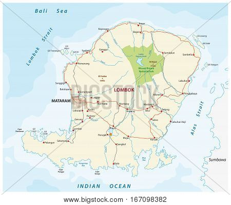 road map of the indonesian island of Lombok