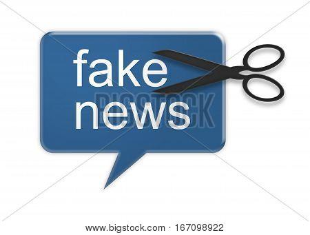 Social Media Concept: Action Against Fake News Speech Balloon 3d illustration isolated on white background
