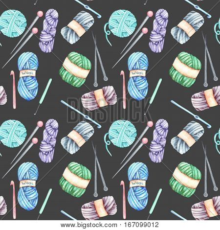 Seamless pattern with watercolor knitting elements: yarn, knitting needles and crochet hooks; hand drawn on a dark background