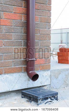 Rain Gutter Installation with Rainwater Drainage System Installation.