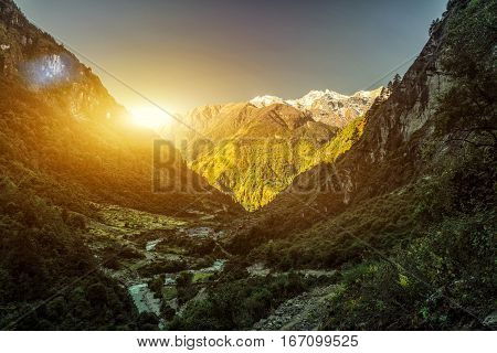 High mountains covered by trees. Nepal, Manaslu