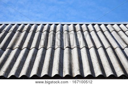 asbestos roofing construction. House asbestos old roof