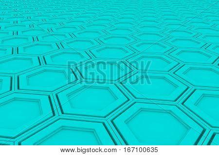 Wall Of Cyan Hexagons