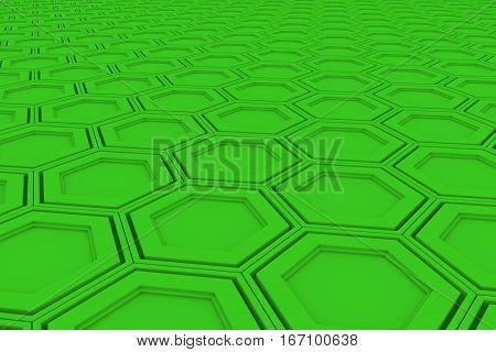 Wall Of Green Hexagons
