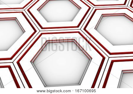 White Hexagons With Red Glowing Sides