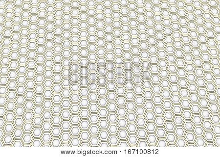 White Hexagons With Yellow Glowing Sides