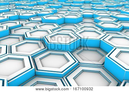 White Hexagons With Light Blue Glowing Sides