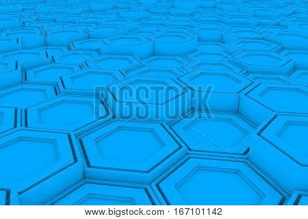 Wall Of Light Blue Hexagons