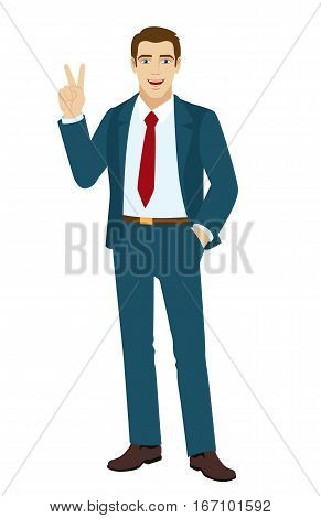 Victory! Businessman showing victory sign. Two thumbs up. Smiling businessman holding hand in pocket. Vector illustration.