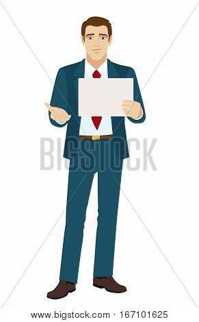 Businessman beggar. Unemployed businessman. Down on luck. Vector illustration.