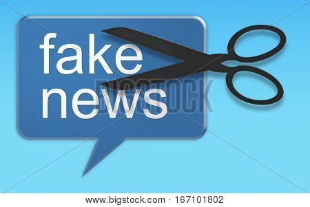 Social Media Concept: Action Against Fake News Speech Balloon 3d illustration on blue background