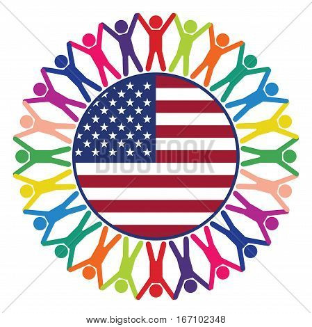 vector colorful icon people of United States of America