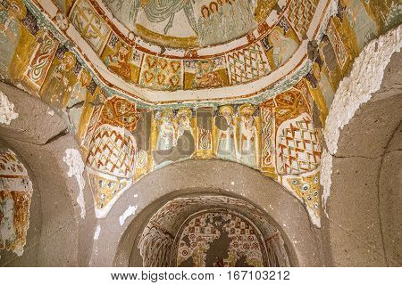 Goreme, Turkey - Jan 5, 2017: Early Christian fresco in cave orthodox church, Cappadocia, Anatolia, Turkey