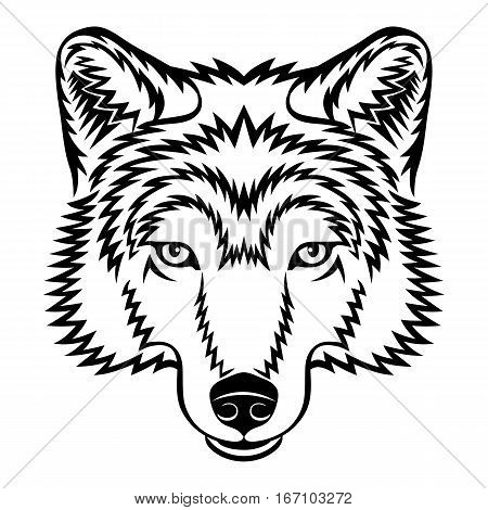 A Wolf head logo in black and white. This is vector illustration ideal for a mascot and tattoo or T-shirt graphic.