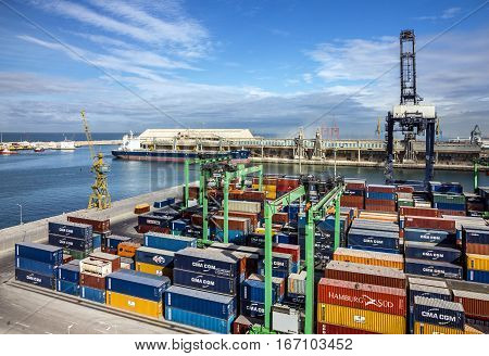 CASABLANCA MOROCCO - JAN 3 2017: Container terminal in Casablanca sea port, Morocco