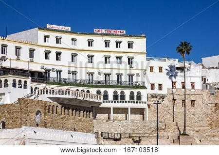 Tanger, Morocco - Jan 24, 2017: Hotel Continental in Tanger old town