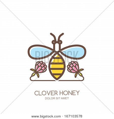 Outline Honeybee Vector Logo, Emblem Or Icon. Linear Bee And Clover Flowers Isolated On White Backgr