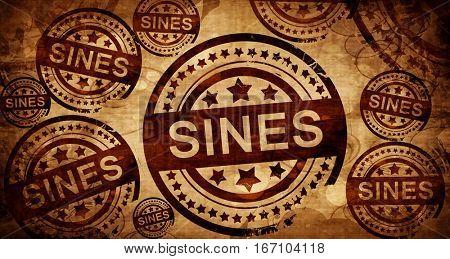 Sines, vintage stamp on paper background