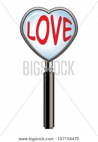 vector valentine illustration of heart shaped magnifying glass over the word love eps10