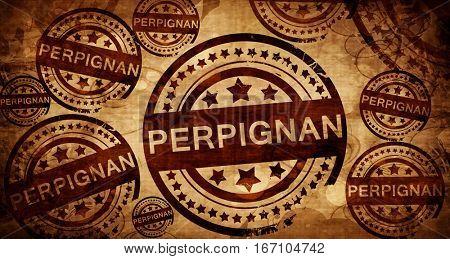 perpignan, vintage stamp on paper background