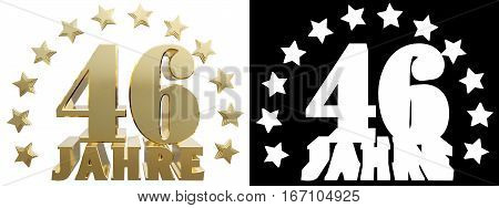 Golden digit forty six and the word of the year decorated with stars. Translated from the German. 3D illustration