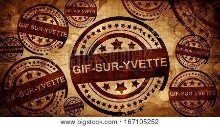 gif-sur-yvette, vintage stamp on paper background