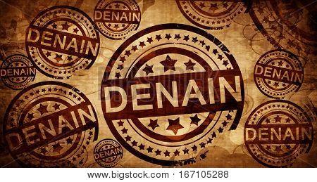 denain, vintage stamp on paper background