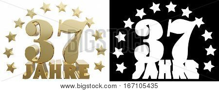 Golden digit thirty seven and the word of the year decorated with stars. Translated from the German. 3D illustration