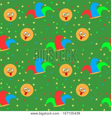 Seamless pattern with jester hat and smiley. April Fool's day background. Vector illustration