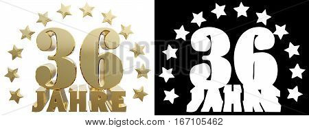 Golden digit thirty six and the word of the year decorated with stars. Translated from the German. 3D illustration