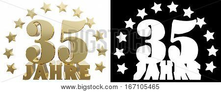 Golden digit thirty five and the word of the year decorated with stars. Translated from the German. 3D illustration