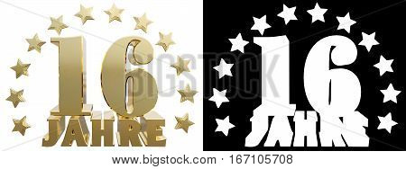 Golden digit sixteen and the word of the year decorated with stars. Translated from the German. 3D illustration