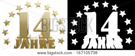 Golden digit fourteen and the word of the year decorated with stars. Translated from the German. 3D illustration