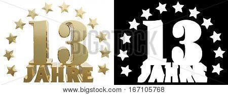 Golden digit thirteen and the word of the year decorated with stars. Translated from the German. 3D illustration
