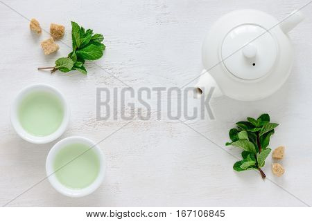 Fresh mint tea background with a space for a text view from above