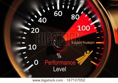 Performance meter showing staff success high quality and high resolution computer graph