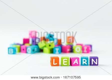 Learn Word Spelled With Wooden Blocks