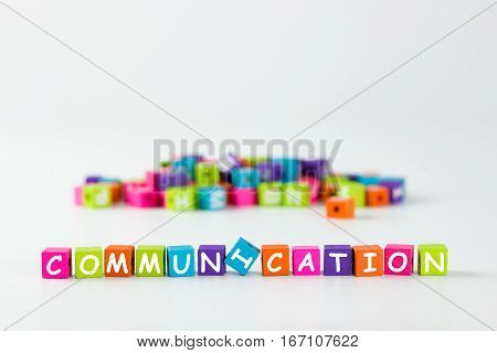 Communication Word Spelled With Wooden Block