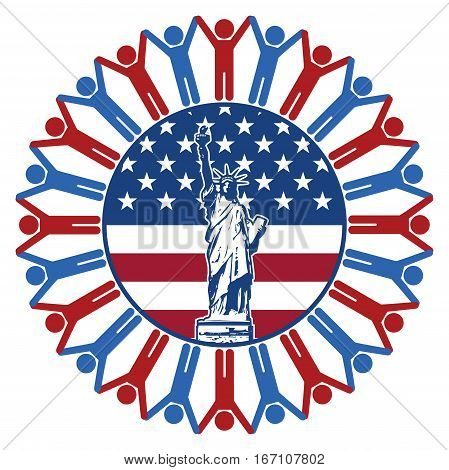 vector icon with flag of United States of America statue of liberty republican and democrat symbols of people