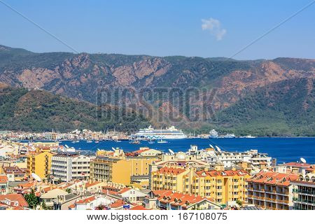 Scenic view of Marmaris resort coastline with houses and sea