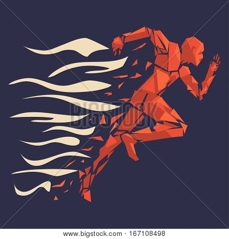 Fire running man icon - vector. Running man on disintegrating into triangles
