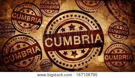 Cumbria, vintage stamp on paper background