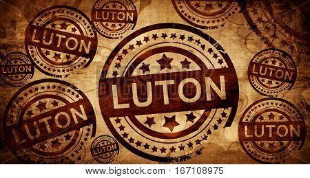 Luton, vintage stamp on paper background