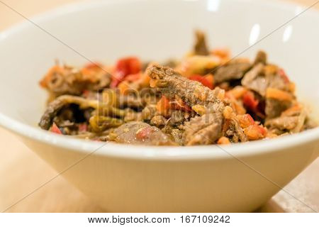 Roasted beef prepared in tradional manner with vegetables