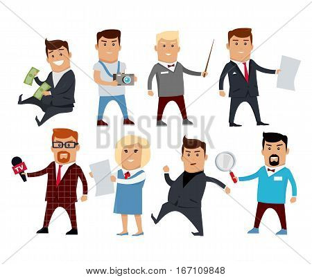 Set of people characters vector. Professions collection. Career choice concept. Businessman, photographer, journalist, teacher, office worker politician consultant researcher illustration