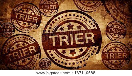 Trier, vintage stamp on paper background