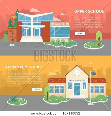 Upper and elementary school web banners. Modern and classic school buildings with trees flowerbed, flag on yard flat vector illustrations, color city silhouettes on background. For landing page design