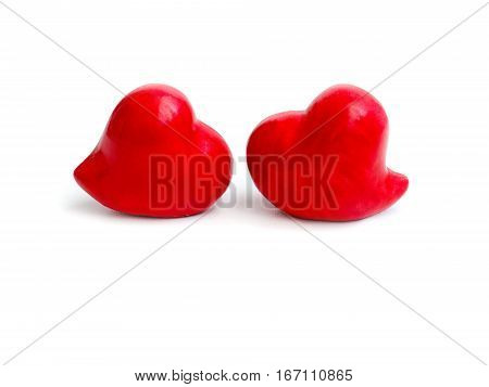 Hearts on the red color of the white background.