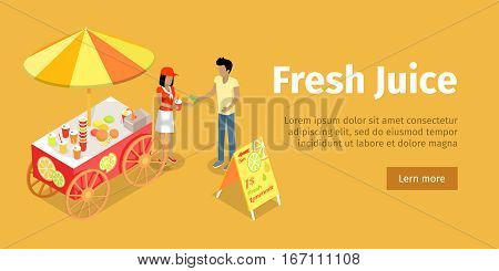 Fresh juice web banner. Street cart store on wheels with juices, seller with paper cup full of lemonade and buyer with money isometric projection vector. For fast food cafe ad