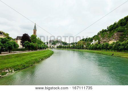 Salzach River in Salzburg, Austria. Famous place Unesco Heritage Festung Hohensalzburg, Salzburger Land, Austria, Europe